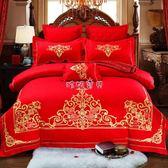 婚慶床上用品 歐式婚慶大紅色純棉四件套貢緞提花繡花全棉件套結婚床上用品 珍妮寶貝