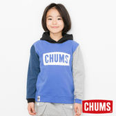 CHUMS 日本 童 LOGO 兜帽套頭衫 彩拼藍 CH201020C010