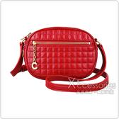 CELINE C Charms金屬LOGO壓印格紋設計小牛皮拉鍊斜背包(小/紅)