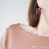 7355# 韓版毛球耳環女 時尚流行三角珍珠絨球耳釘耳飾品 辛瑞拉