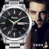 流行男錶夜光星期日歷手錶男鋼帶皮帶學生防水石英錶男錶時尚簡約男士手錶