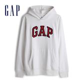 Gap男裝 Logo縮口連帽休閒上衣 567861-灰白色