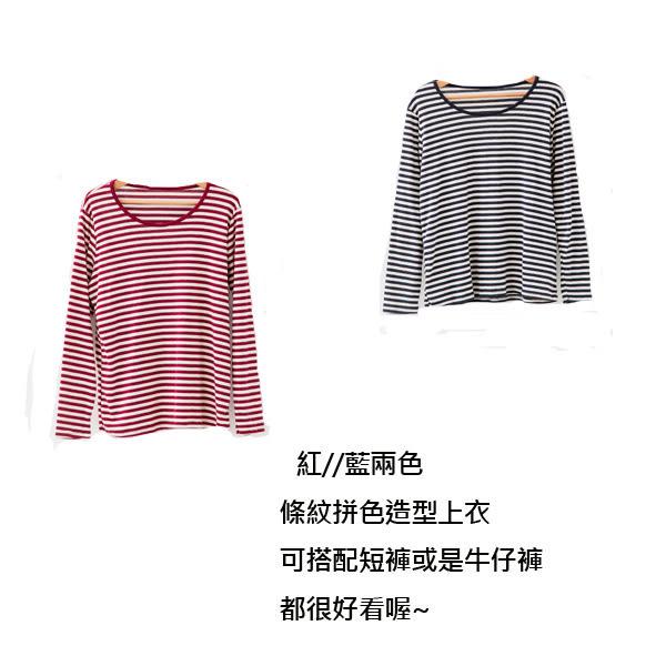 *孕婦裝*台灣製休閒百搭不敗條紋拚色孕婦上衣 兩色----孕味十足【CNI2702】
