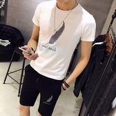 夏季男士短袖T恤休閒套裝韓版半袖時尚帥氣一套衣服2018新款男裝【PINKQ】