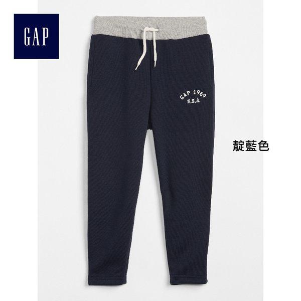 Gap男嬰幼童 LOGO基本款抓刷毛緊腰長褲 兒童彈力運動褲358915-靛藍色