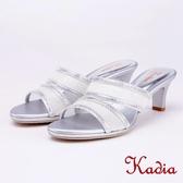 kadia.氣質水鑽造型高跟拖鞋(9110-85銀色)