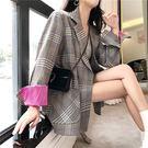 桃紫袖口 西裝 外套 雙排釦 格紋 格子 長版 腰帶 顯瘦 上班族 拼接 撞色 反折袖 NXS