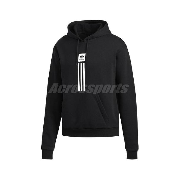 adidas 長袖T恤 Solid Pillar Hoodie 黑 白 男款 帽T 滑板 運動休閒 【ACS】 EC7322
