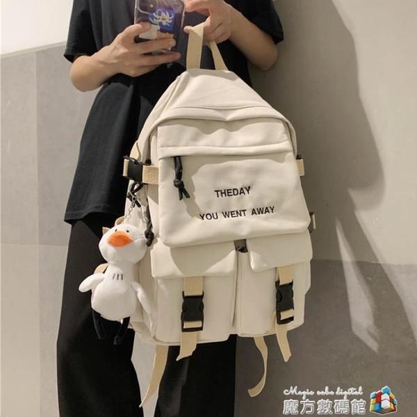ins風書包女韓版高中大容量初中學生雙肩包女原宿ulzzang帆布背包 魔方數碼數碼