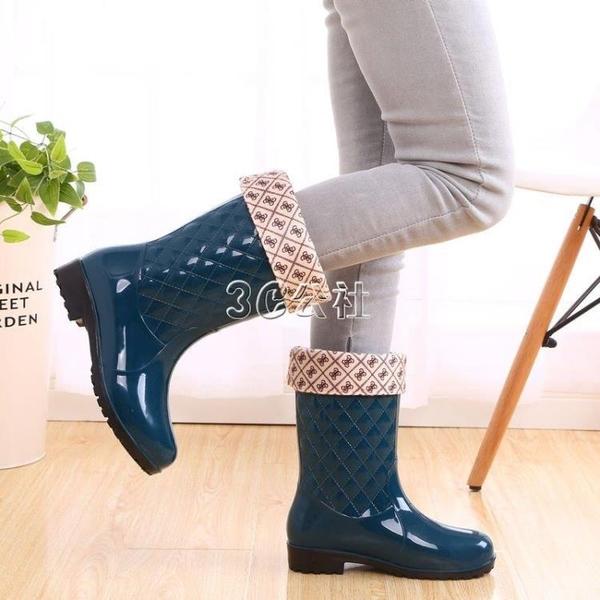 四季通用時尚防滑女雨鞋中筒加絨套鞋女中高防水靴 color shop
