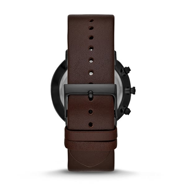 FOSSIL  古典紳士皮革腕錶-深咖色X黑-FS5485