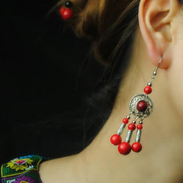 耳環 藏苗民族風彩石耳環-月兒的綺麗莊園