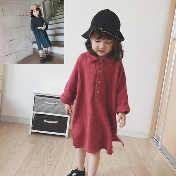 *╮小衣衫S13╭*女童韓版文藝感寬鬆長袖長版襯衫裙1080903