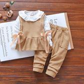 春季新款3女童休閒韓版套裝嬰兒童裝4長袖三件套春秋裝1一2歲【卡米優品】