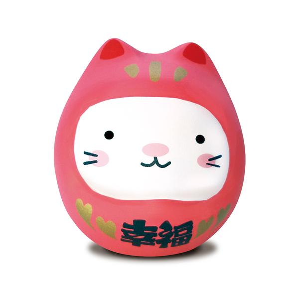 【金石工坊】七小福達摩貓-粉色幸福 招財貓 陶瓷擺飾 開運擺飾 辦公開運 公仔