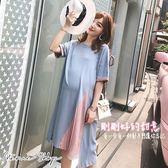 孕婦裝 MIMI別走【P52807】剛剛好的甜意 撞色拼接雪紡連身裙 孕婦裙