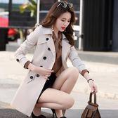 風衣女中長款新款春秋季韓版矮個子百搭大碼修身外套顯瘦大衣