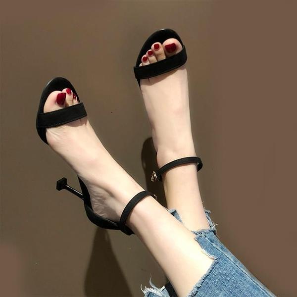 黑色露趾一字帶扣細跟涼鞋女仙女風夏網紅細帶百搭高跟鞋 安妮塔小铺