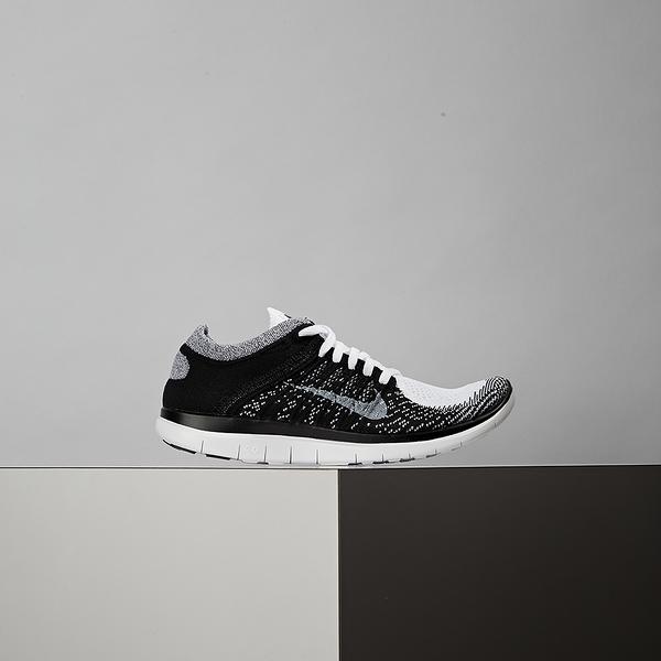 Nike Free 4.0 Flyknit 女鞋 黑白 編織 赤足 慢跑鞋 631050-100