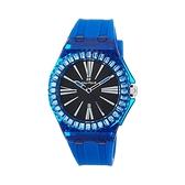 【Folli Follie】Rainbow Time透晶水藍優雅時尚橡膠腕錶-淨透藍/WF19P009ZDU_BL/台灣總代理享兩年保固