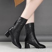 秋冬季新款女士皮靴粗跟后拉錬中筒靴黑色加絨英倫風高跟靴子 雙12全館免運
