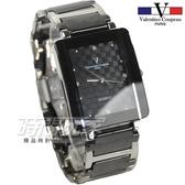 valentino coupeau范倫鐵諾 簡約晶鑽時刻方形菱格紋男錶 防水手錶 不銹鋼 +陶瓷 V61222黑大