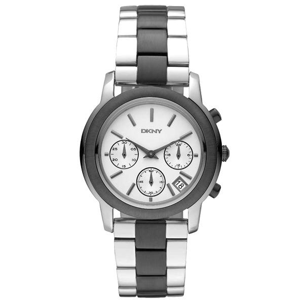 DKNY 絕美驚豔三眼計時腕錶(黑)