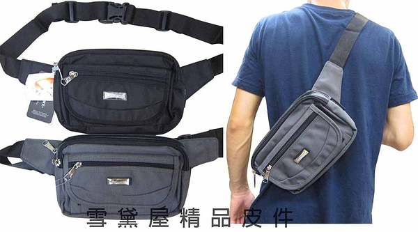 ~雪黛屋~CAUTION腰包台灣製造品質保證外袋可放6吋機運動休閒高單數防水尼龍布腰背斜側背 CB2311