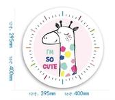 長頸鹿B靜音機芯16英寸靜音鐘錶臥室兒童房掛鐘北歐動物石英鐘  JQ
