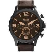 FOSSIL 重裝教士三眼運動計時腕錶-深咖啡皮帶