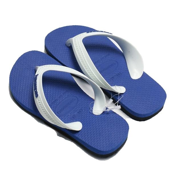 HAVAIANAS 哈瓦仕 童拖 人字拖 KIDS MAX 白藍黑 拖鞋 (布魯克林) 41300906513K