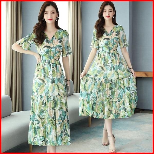 韓國風短袖洋裝 連衣裙雪紡收腰顯瘦氣質連身裙 依多多