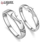 [Z-MO鈦鋼屋]鍍白金戒指/浪漫海豚甜蜜對/新款推薦/告白禮物單只價【BKX930】