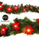 【摩達客】9呎270cm聖誕裝飾樹藤條 (聖誕紅LED20燈串系) (DIY組合-可彎曲調整 可掛門邊/窗邊/牆沿