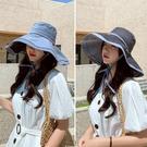 遮陽帽 防曬漁夫帽防遮臉遮陽女可折疊夏季百搭大沿帽檐太陽帽