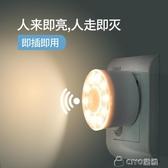 智慧人體感應光控插座插電led小夜燈燈泡過道自動樓梯樓道衛生間 ciyo黛雅