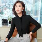 美之札[8S137-PF]長圍巾領設計風OL長袖襯衫上衣~