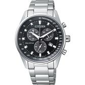 CITIZEN 星辰 Eco-Drive 光動能計時手錶-黑x銀/40mm AT2390-58E