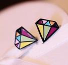 鑽石造型耳環 (2色)   一對190元 情人節禮物【Vogues唯格思】B012
