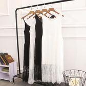 春裝2018新款女蕾絲連身裙胖mm大碼收腰吊帶內搭無袖打底背心裙  良品鋪子