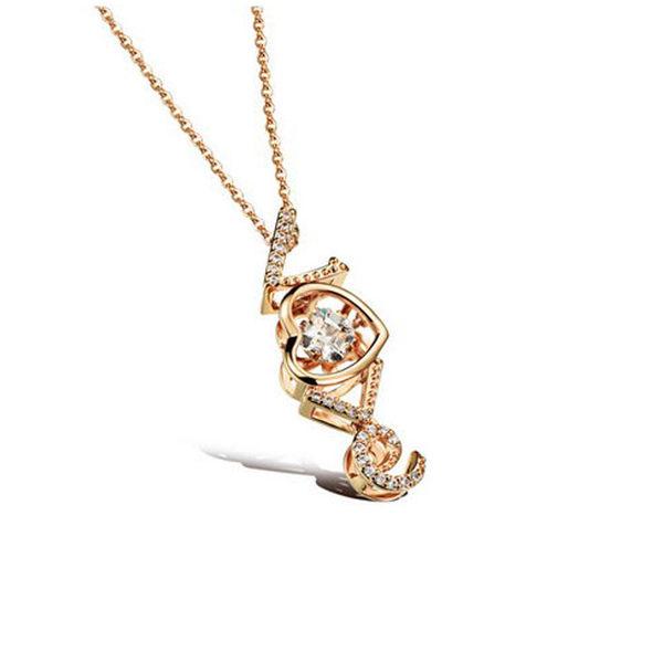 【5折超值價】最新款時尚精美LOVE愛心鑲鑽造型女款鍍18K金鍍白金項鍊