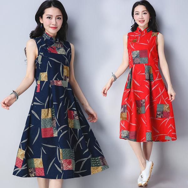 【GZ75】實拍 2018 夏裝 新款 寬鬆 大碼 中長裙子 民族風 亞麻 棉麻 短袖 洋裝