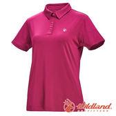 【wildland 荒野】女 彈性POLO吸排抗UV條紋衣『玫瑰紅』0A71659 T恤 POLO衫 上衣 女版 短袖 排汗