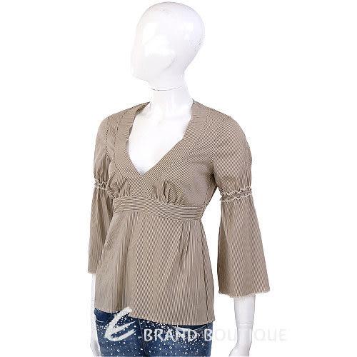Kristina ti 咖啡色條紋V領上衣 0820042-07