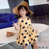 女童連身裙夏裝度假風清爽印花人棉吊帶裙兒童洋裝【淘夢屋】
