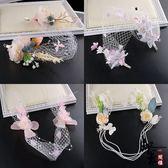 韓式新娘頭飾花朵發帶發箍婚紗禮服配飾彩色花朵頭紗新娘飾品【萬聖節推薦】