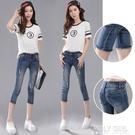破洞七分牛仔中褲女夏季2021新款高腰顯瘦緊身小腳7分褲子小個子 夏季新品