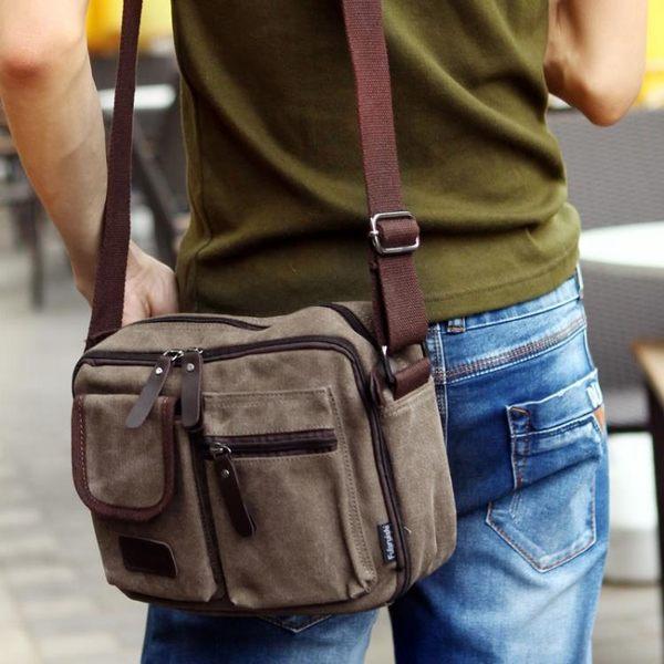新款男帆布包 時尚潮流男士復古斜背背包 韓版休閒側背包