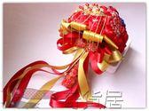 雙十二狂歡購秀禾服手捧花中式中國風新娘手捧花紅色寶藍色盤扣原創手捧花【奇貨居】
