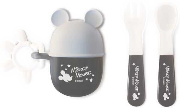 日本 迪士尼 Disney 米奇攜帶餐具叉子+湯匙組 附收納盒~灰[衛立兒生活館]